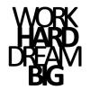 Napis 3D na ścianę DekoSign WORK HARD DREAM BIG