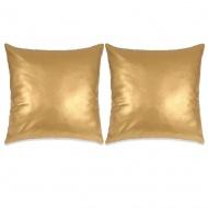 2-częściowy zestaw poduszek z PU, 60x60 cm, złoty