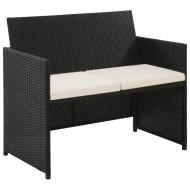 2-osobowa sofa ogrodowa z poduszkami, polirattan, czarna