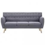 3-osobowa sofa tapicerowana tkaniną, 172x70x82 cm, jasnoszara