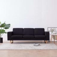 3-osobowa sofa tapicerowana tkaniną, czarna