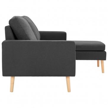 3-osobowa sofa z podnóżkiem, ciemoszara, tapicerowana tkaniną