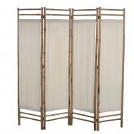 4-panelowy, składany parawan, bambus i płótno, 160 cm