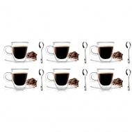 6 szklanek espresso 50ml 3055 + 6 łyżeczek Lambda 6155