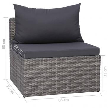 8-cz. zestaw wypoczynkowy do ogrodu, poduszki, rattan PE, szary