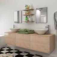 8 elementowy zestaw beżowych mebli łazienkowych z umywalkami