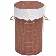 Bambusowy kosz na pranie, okrągły, brązowy