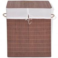 Bambusowy kosz na pranie, prostokątny, brązowy