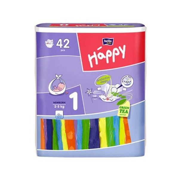 BELLA 42szt Happy Pieluszki Newborn 1 (2-5kg) 5900516600693