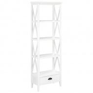 Biblioteczka z 1 szufladą, biała, 60 x 30 x 170 cm, MDF