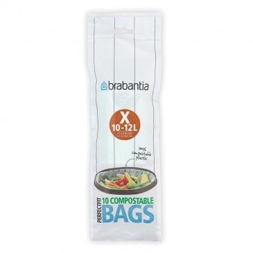 BRABANTIA - Compostable Bags - Worki na śmieci biodegradowalne - rozmiar X - 10-12 l - 10 szt.