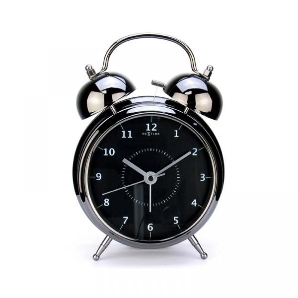 Budzik 12,5 cm NEXTIME Wake up czarny 5112zw