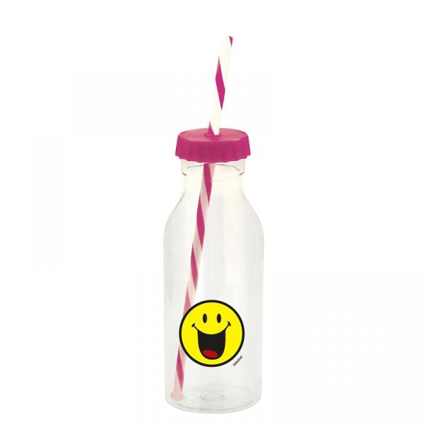 Butelka ze słomką 550ml Zak! Design Smiley fuksja 6727-0172