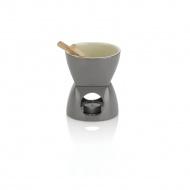 ceramiczny zestaw do fondue czekoladowego, 0,4 l, szary