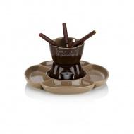 Ceramiczny zestaw do fondue czekoladowego 4 os. 0,25 l Kela brązowy