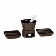 ceramiczny zestaw do fondue: podgrzewacz, 2 widelce, 2 talerze, 6 el., brązowy