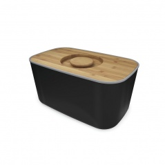 Chlebak z bambusową deską Joseph Joseph czarny