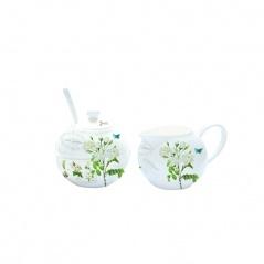Cukiernica z łyżeczką + mlecznik do kawy Nuova R2S Romantic białe kwiaty