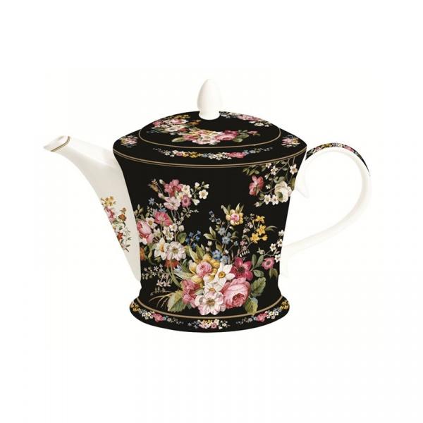 Czajnik porcelanowy 1L Nuova R2S Blooming Opulence czarny 1350 BLOB