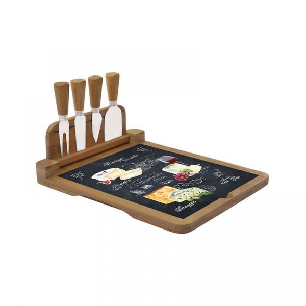 Deska bambusowa do serów z nożami 4szt Nuova R2S Woch-Wopa-Ictt 816 WOCH