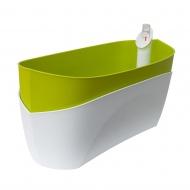 donica samonawadniająca prostokątna 37,5x15,5 cm biało-zielony