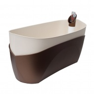 donica samonawadniająca prostokątna 37,5x15,5 cm brązowo-kremowy