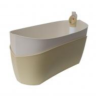 donica samonawadniająca prostokątna 37,5x15,5 cm kremowy