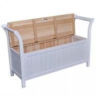 Drewniana ławka ze schowkiem, 126x42x75 cm, biała