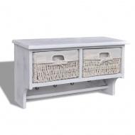 Drewniana półka ścienna z 2 szufladami i 4 haczykami (Biała)