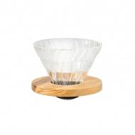 Drip szklany V60-02 12,8x9,5 cm Hario Olive Wood naturalny
