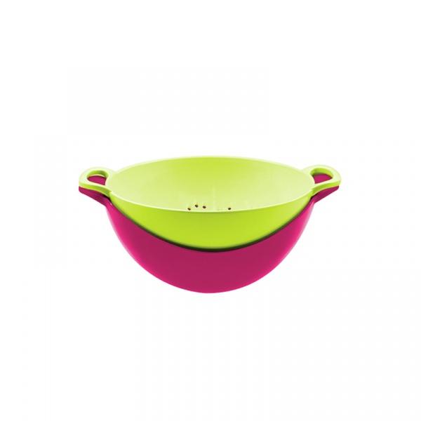 Durszlak z miską 15 cm Zak! Designs różowo-zielony 1701-A852