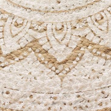 Dywan pleciony z juty z nadrukiem, 90 cm, okrągły