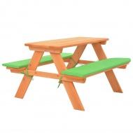 Dziecięcy stolik piknikowy z ławkami, 89x79x50 cm, lita jodła
