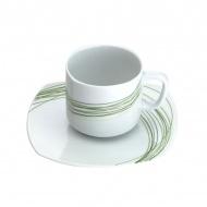 Filiżanka do herbaty ze spodkiem 0,16 l Casa Bugatti Fili Verde