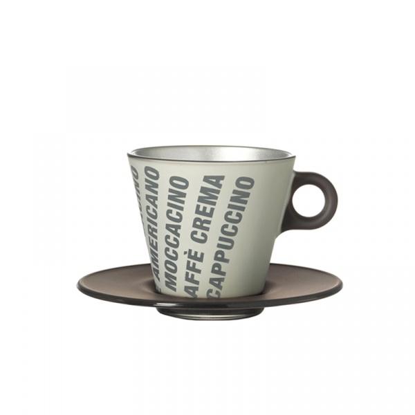 Filiżanka espresso z grafiką + spodek Leonardo Ooh! Magico czarny metalik 063887