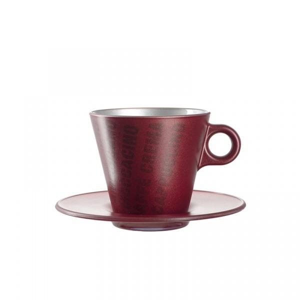 Filiżanka espresso z grafiką + spodek Leonardo Ooh! Magico czerwony metalik 063888