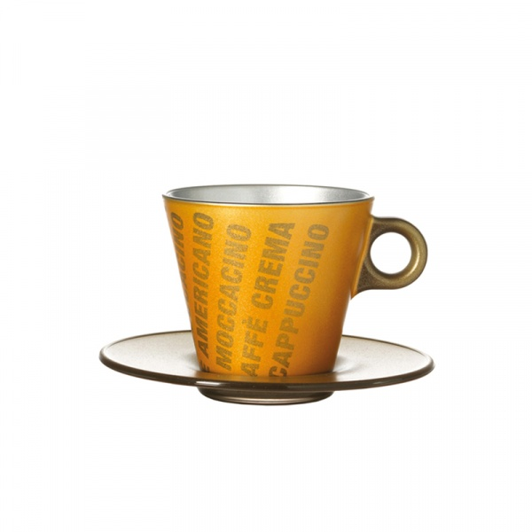 Filiżanka espresso z grafiką + spodek Leonardo Ooh! Magico złoty metalik 063889
