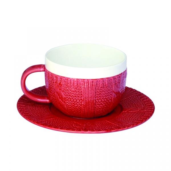 Filiżanka śniadaniowa z talerzykiem Nuova R2S czerwona 010 RED