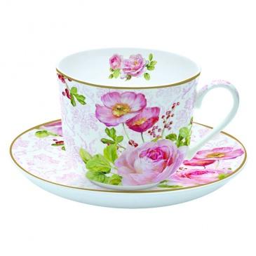 Filiżanka śniadaniowa z talerzykiem Nuova R2S Floral Damask