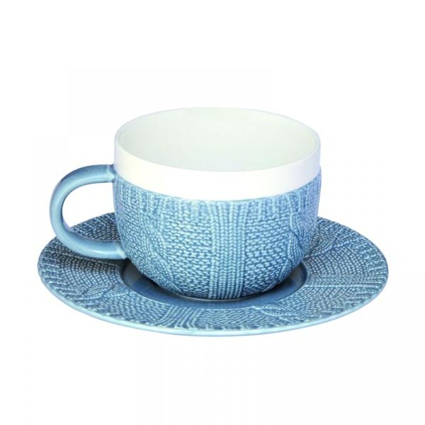 Filiżanka śniadaniowa z talerzykiem Nuova R2S niebieska 010 BLUE