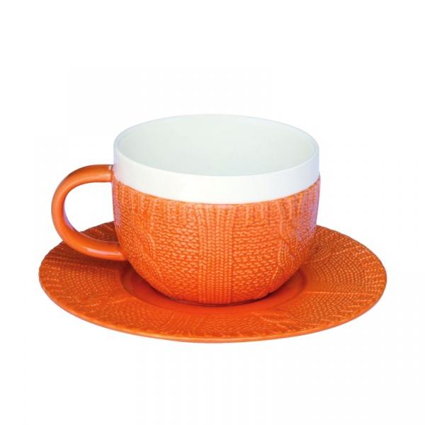 Filiżanka śniadaniowa z talerzykiem Nuova R2S pomarańczowa 010 ORA