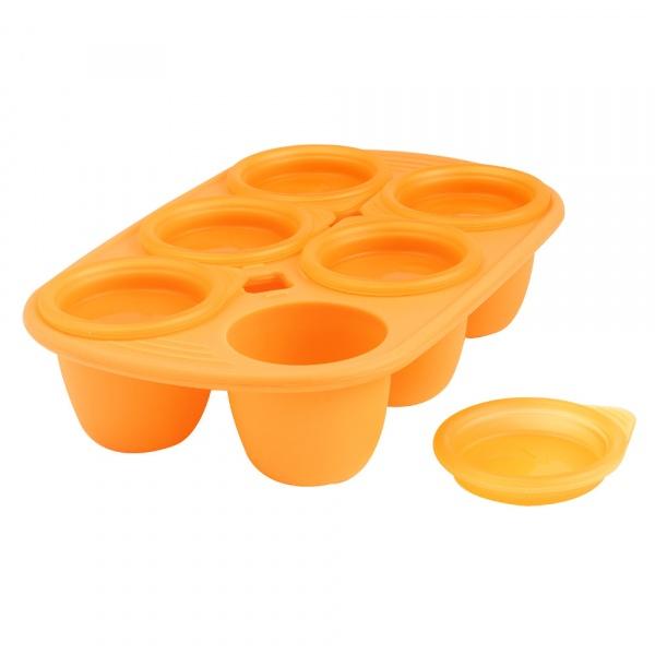 Forma z 6 wgłębieniami na posiłki dla dziecka 60 ml Mastrad pomarańczowa MA-F52009