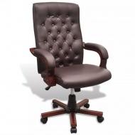 Fotel biurowy Chesterfield z Brązowej Eko Skóry