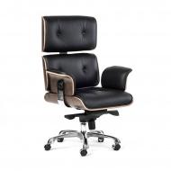 Fotel biurowy Tokyo : Kolor - czarna skóra/jasny orzech