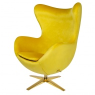 Fotel Egg Velvet Gold King Home szeroki żółty-welur