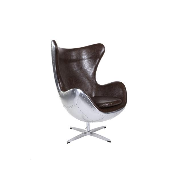 Fotel Jajo D2 aluminium PU brązowe 5902385716277