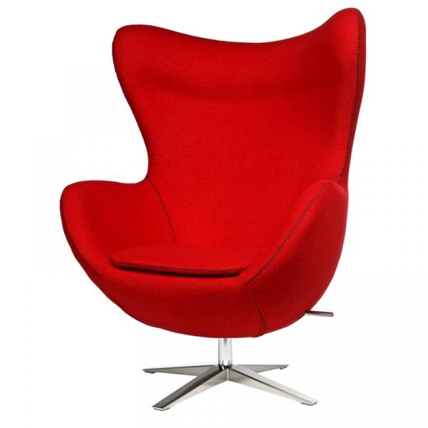 Fotel Jajo D2 z przeszyciem szeroki tkanina czerwona DK-42151