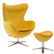 Fotel Jajo Velvet żółty z podnóżkiem