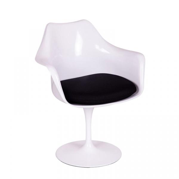 Fotel King Bath Tulip Arm biało-czarny RU-KPC-10.WHITE_BLACK