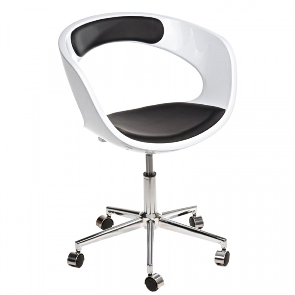 Fotel na kółkach D2 FLOP K- biały, S- czarny DK-41877